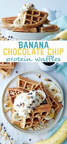 Banana Chocolate Chip Protein Waffles - this healthy, high protein breakfast idea is inspired by Chunky Monkey ice cream ;) They work great for meal prep in the refrigerator or freezer too!