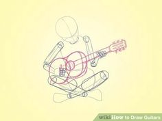 Drawing People Image titled Draw Guitars Step 9 - How to Draw Guitars. This tutorial will show you two ways to draw two types of guitars, a classic guitar and a modern guitar. Sketch the V-shape body of the electric guitar. Cartoon Drawings, Sketches, Drawings, Drawing Tutorial, Manga Drawing, Drawing Supplies, Guitar Drawing, Drawing Base, Art Reference Photos
