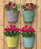 Four Pack of Panacea Half Round Bucket Wall Planters in Assorted Colors Set of 4 half round bucket planters for placing on a wallMuted, milk paint colors on Vertical Wall Planters, Blue Garden, Milk Paint, Paint Colors, Planter Pots, Recycling, Bucket, Packing, Paint Colours
