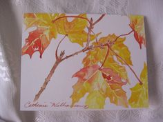 Maple Leaves Watercolor Fall Notecards in Autumn colors