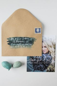 Calligraphy Watercolor Save the Dates: http://ohsobeautifulpaper.com/2015/03/danielle-matts-calligraphy-watercolor-save-dates/ | Design + Photo: Eleven and West Studio