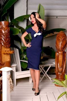 Pinup Couture - Natalie dress in Nautical blue with white trim