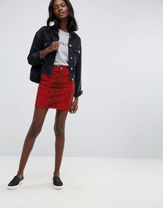 ASOS Denim Original High Waisted Skirt in Red Leopard Print - Red