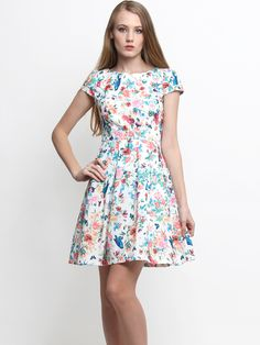 Nadia Floral Capped Sleeve Dress White – Wisteria