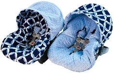 Let your baby ride in style with the Infant Car Seat Cover in Social Circle Blue from Itzy Ritzy.  This reversible cover fits most manufacturer's car seats