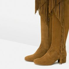 New Zara brown tan boots fringe tall cowboy 8 6.5 new w tags real leather knee high *****Heavy item please don't bundle, you risk your order being cancelled***** Zara Shoes Over the Knee Boots