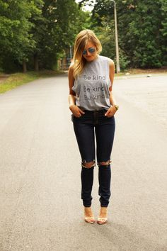 Be kind - Rock on Ripped Jeans, Black Jeans, Skinny Jeans, Rock, My Style, Pants, Fashion, Tattered Jeans, Skinny Fit Jeans