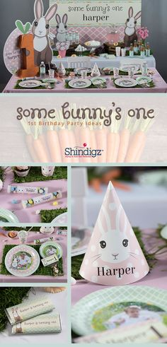 Having some bunny turn one this spring? Our new Some Bunny One first birthday theme is perfect for your little one that is turning one! This collection features personalized favors, tableware, and fun bunny cutouts! Not the theme for you? Shop all of our 1st birthday theme ideas!