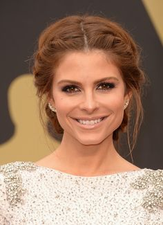 Middle part updo, maria menounos hair, wedding hair with braid, bridal hair My Hairstyle, Pretty Hairstyles, Braided Hairstyles, Wedding Hairstyles, Braided Updo, Milkmaid Braid, Long Hairstyles, Red Hair Updo, Red Carpet Hairstyles