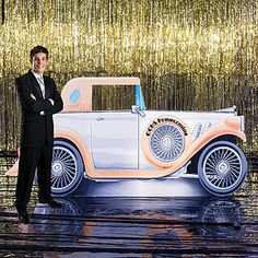 1920's Car Standee.   Add your custom text to this 1920's Car Standee and pose for great photo ops!  This unique 1920's car Standee has a personalized area on the spare tire on the front of the car. Each 1920's Car Prop is made of cardboard measuring 4 feet 7 inches high x 9 feet 7 inches wide and is free-standing.