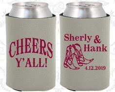Cheers Yall Wedding, Wedding Party Gifts, Country Wedding Gift, Cowboy Boots,Wedding Koozies (11)