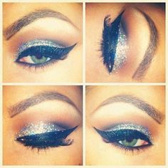 winged eyeliner and glitter shadow