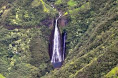 Manawaiopuna Falls also known as Jurassic Park Falls in the Hanapepe Valley as seen from a helicopter tour. Photo by John Fischer #Kauai #Hawaii #waterfall