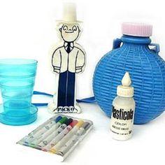El kit infaltable para el cole. Vasito plegable, el Paco pega (pinta y dibuja) La cantimplora, los marcadores Sylvapen y la Plasticola