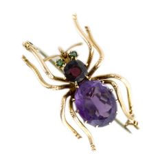 Antique Amethyst and Garnet Spider Brooch 1650$  Langantiques.com