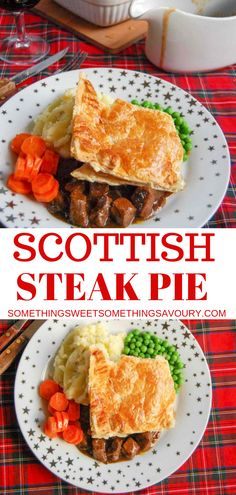 Homemade Scottish Steak Pie - tender chunks of beef slow cooked in a rich onion gravy topped with a puff pastry lid. So simple to make and pure comfort food! food british Something Sweet Something Savoury Scottish Steak Pie Recipe, Scottish Recipes, Scottish Desserts, British Recipes, Russian Recipes, Burns Night Recipes, New Zealand Food And Drink, Burns Supper, Steak And Onions
