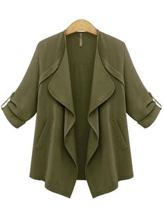 Shop Army Green Long Sleeve Drape Front Coat online. SheIn offers Army Green Long Sleeve Drape Front Coat & more to fit your fashionable needs.