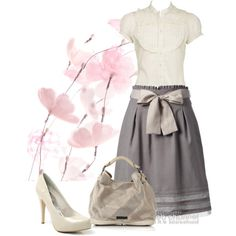 Cute but needs different shoes-i think a grey satin flat or grey heel