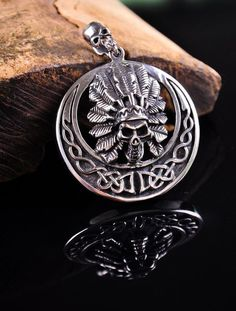 Vintage Wizard Skull 316L Stainless Steel Pendant Necklace