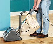 Electric Floor Sanders from Hire Station remove imperfections, stains, paint and varnish to leave a perfect finish prior to varnishing.