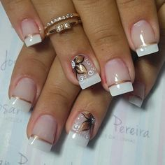 Nail inspiration with cute decorations 028 Nail inspiration with cute decorations 028 Gorgeous Nails, Pretty Nails, French Tip Nails, Square Nails, Creative Nails, Manicure And Pedicure, Toe Nails, Nails Inspiration, Beauty Nails