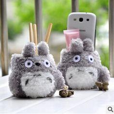 Totoro Kawaii Puszyste Posiadacz Telefonu Telefon Komórkowy Stojak podwójny Uchwyt Na Pióro Pędzla Puli Prezent Urodzinowy