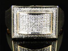 14K Yellow Gold Over White Round Diamond Wedding Anniversary Men's Band Ring  #br925silverczjewelry #MensBandRing