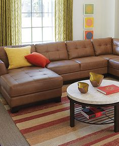 Fabrizio Leather Sectional Sofa Living Room Furniture Collection