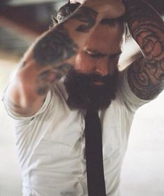 full thick dark bushy beard and mustache beards bearded man men mens' style dapper bearding tattoos tattooed handsome #beardsforever