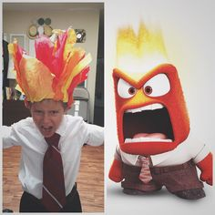 DIY Inside Out Anger costume. Anger Inside Out Costume, Inside Out Halloween Costumes, Sibling Halloween Costumes, Mickey Halloween Party, Teacher Costumes, Halloween Inspo, Easy Costumes, Family Costumes, Halloween Kids