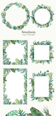 Tropical leaves by Sсherbinka on Creative Market Deco Floral, Tropical Leaves, Tropical Flowers, Watercolor Paintings, Watercolor Leaves, Watercolours, Hand Lettering, Diy And Crafts, Wedding Invitations
