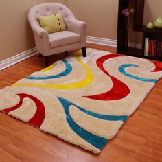 DonnieAnn 3D Shaggy-806 Abstract Wavy Swirl Design Multi Color Area Rug 5'x7' (Yellow, Red, Blue, Primary color), Size 5' x 7'
