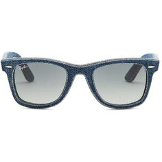 Ray-Ban Women's Denim Wayfarer Sunglasses (£125) ❤ liked on Polyvore featuring accessories, eyewear, sunglasses, dark blue, wayfarer style glasses, wayfarer style sunglasses, uv protection glasses, ray ban sunglasses and wayfarer glasses