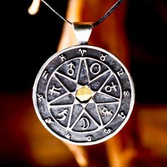 7 Metals Chaldean Astrology Talisman - Contains the Chaldean order - stars symbol and Zodiac signs. Chaldean order talisman Seven are the passages to perfection of matter Count Allessandro Cagliostro  The Chaldean order, is essentially a hierarchy of powers that are represented by heavenly bodies (the stars), this order of powers is expressed on the axis of time as orbits of the seven discovered planets - Saturn, Jupiter, Mars, The Sun, Venus, Mercury and the Moon.