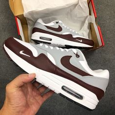 Best Sneakers, Nike Sneakers, Air Max Sneakers, Air Max 1, Nike Air Max, Grey Trainers, Baskets Nike, Nike Shoes Outlet, Brown And Grey