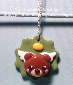 Décoration de sapin, ange à tête d'ours (christmas ornament) - Pâte polymère Fimo (polymer clay) - 2014 - Myriam Lakraa Créations