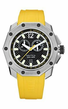 Nautica Men's N24518G NVL100 Yellow Resin Watch NAUTICA. $149.00. Carbon fiber detail adds depth to the watch dial.. Decagonal watch case design is reminiscent of the 10-sided cast iron lanterns. The angular case features a special anodized aluminum treatment on the crown. Water-resistant to 660 feet (200 M). Signature nautica screw down crown. Save 39%!