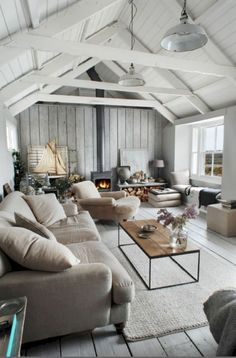 55 Amazing Modern Minimalist Living Room Inspirations - April 21 2019 at Beach Living Room, Bohemian Living Rooms, Coastal Living Rooms, Modern Minimalist Living Room, Living Room Modern, Living Room Interior, Minimalist Decor, Kitchen Living, Small Living