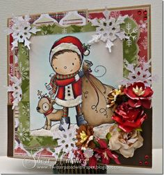 Wild Orchid Crafts Snowflakes Challenge  featuring Santa and Pup from Kraftin' Kimmie Stamps http://www.kraftinkimmiestamps.com/index.php?main_page=product_info&cPath=120&products_id=1036