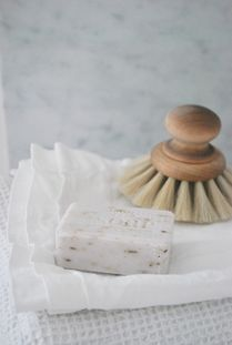 Package free soap and compostable, bamboo dish scrubs