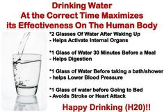Drinking water at the correct time of the day maximizes it's effectiveness on the human body.