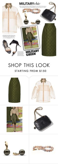 """""""Attention! Go Army Green"""" by pearlparadise ❤ liked on Polyvore featuring Lela Rose, Chanel, Anja, military, Gogreen, contestentry, pearljewelry and pearlparadise"""