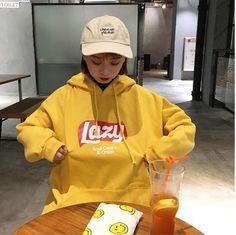 Korean College Women Hooded Coat Lazy Hoodie Thick Sweatshirt Jacket Hoodies