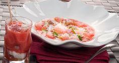 Gazpacho de fresas con verdel