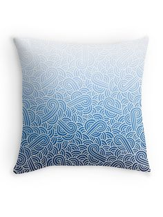 """""""Ombre blue and white swirls zentangle"""" Throw Pillow by @savousepate on @redbubble #throwpillow #homedecor #pattern #drawing #doodles #zentangle #abstract #ombreblue #blue #pastelblue #darkblue #navyblue #white #gradientblue"""