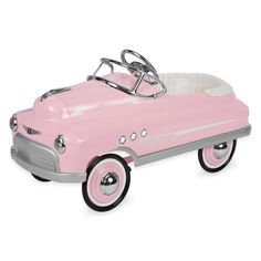 Your little girl will jump for joy when she sees this pretty pink comet pedal car. Complete with chrome accents and port holes, your little girl is sure to get noticed. She will be the cool kid on the