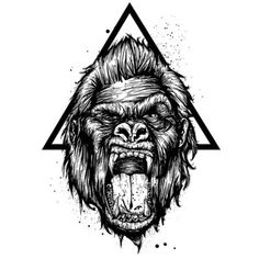 Gorilla and Triangle Tattoo Design