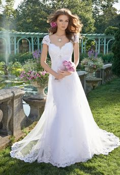 Beaded Lace Cap Sleeve Wedding Dress from Camille La Vie and Group USA
