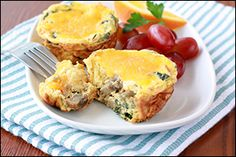 Extra-Cheesy Mini Egg Bakes: nothing to count for light cheese wedges in the quantity used per serving of 1/6 recipe, use FF cheddar (or RF and count).  After topping with cheddar, spray tops with nonstick spray before final baking to help FF cheese melt.