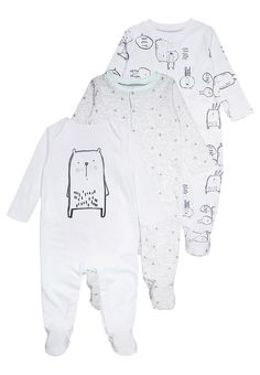 Vêtements mothercare BOYS MODERN LAYETTE SLEEPSUIT BABY 3 PACK - Pyjama -  lights multicolor blanc  25 f8e86038067